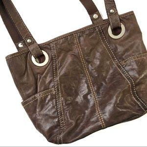 Fossil Brown Genuine Leather Handbag Pockets